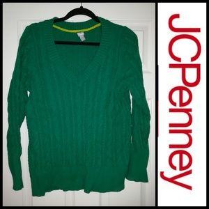 JCPENNEY Green V-neck Sweater